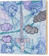 Tarot Of The Younger Self Ace Of Swords Wood Print