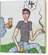 Tarot Of The Younger Self Four Of Cups Wood Print