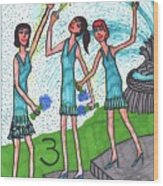 Tarot Of The Younger Self Three Of Cups Wood Print