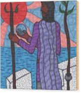 Tarot Of The Younger Self Two Of Wands Wood Print