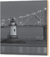 Tarrytown Lighthouse And Tappan Zee Bridge At Twilight II Wood Print by Clarence Holmes