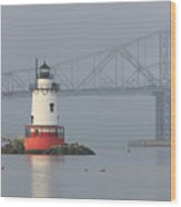 Tarrytown Lighthouse And Tappan Zee Bridge I Wood Print
