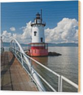 Tarrytown Lighthouse Hudson River New York Wood Print by George Oze