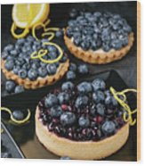 Tart With Blueberries Wood Print