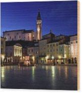 Tartini Square Plaza In Piran Slovenia With City Hall, Tartini S Wood Print