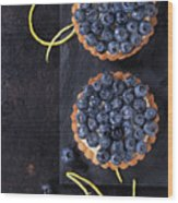 Tartlets With Blueberries Wood Print