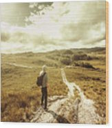 Tasmanian Man On Road In Nature Reserve Wood Print