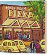 Tasty Food Pizza On Decarie Blvd Wood Print
