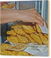 Tasty Hot Empanadas For Lunch In Angelmo Fish Market In Puerto Montt-chile Wood Print