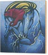 Tasunka Witko- Crazy Horse Wood Print