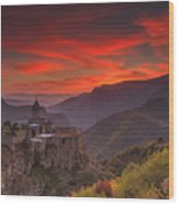 Tatev Monastery At Dawn Wood Print