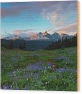 Tatoosh Dawning Wood Print
