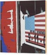 Tattered 9-11 Poster Barbershop Eloy Arizona Xmas 2004-2008 Wood Print