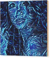 Tatto Lady With The Blues Wood Print
