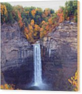 Taughannock Waterfalls In Autumn Wood Print