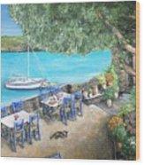 Taverna On Crete  Wood Print