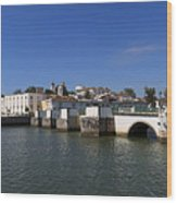 Tavira Ponte Romana And The River Wood Print