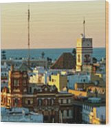 Tavira Tower And Post Office From West Tower Cadiz Spain Wood Print