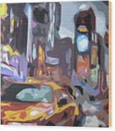 Taxi On Broadway Wood Print