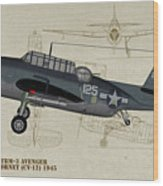 Tbm-3 Avenger Profile Art Wood Print