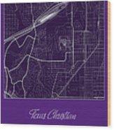Tcu Street Map - Texas Christian University Fort Worth Map Wood Print