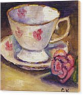 Tea Cup With Rose Still Life Grace Venditti Montreal Art Wood Print