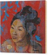 Tea Girl Wood Print