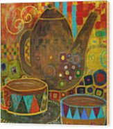 Tea Party With Klimt Wood Print