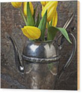Tea Pot And Tulips Wood Print