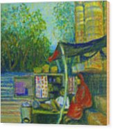 Tea Stall At Assi Ghat In Varanasi Wood Print