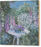Tea Time In The Garden Wood Print