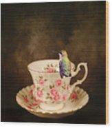 Tea Time With A Hummingbird Wood Print