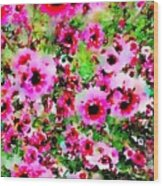 Tea Tree Garden Flowers Wood Print