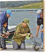 Teach Him To Fish Wood Print