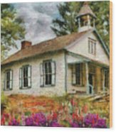 Teacher - The School House Wood Print by Mike Savad