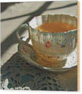 Teacup On Lace Wood Print