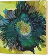 Teal Bloom Wood Print