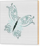 Teal Butterfly Wood Print