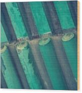 Teal Chinese Ceiling Wood Print