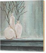 Teal Elegance - Teal And Gray Art Wood Print