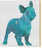 Teal frenchie abstract painting Wood Print