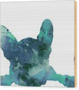 Teal Frenchie Minimalist Painting Wood Print
