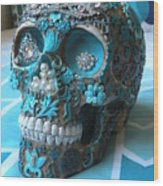 Teal Gem Art Skull Wood Print