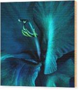 Teal Gladiola Flower Wood Print