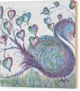Teal Hearted Peacock Watercolor Wood Print