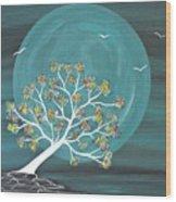 Teal Moon Nights Wood Print
