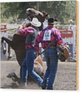Team Bronc Riding 2008 Wood Print