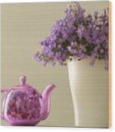 Teapot And Flowers In A Vase Wood Print