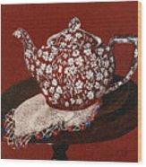 Teapot Calico Red Wood Print