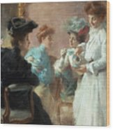 Teatime In My Living Room In Via Senato Wood Print